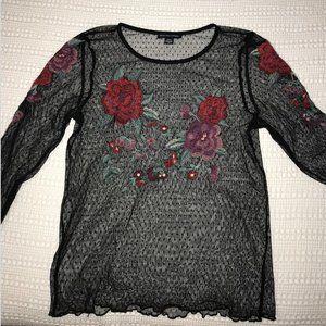American Eagle Black Sheer Rose Long Sleeve